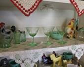 Set of 3 Vaseline Glass Wine Glasses, Uranium Glass Champagne Glasses, Glows Under Black Light, Stemmed Green Depression Glass