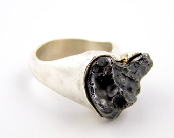 Sikhote-Alin Meteorite Ring with Gold Nugget Accent