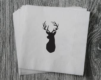 Deer Head Silhouette - Foil Stamped Hand Printed 3-ply Napkins - Set of 10