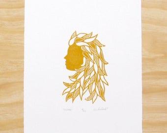"Woodcut Print - ""Sister"" Earthy Orange - Woman Head - Feminine - Art Printmaking"
