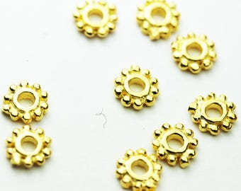 10pcs 5.5MM 18K Gold Vermeil on 925 sterling silver Jewellery Findings Rondelle Spacers,5.5mm diameter, 1.3mm thick, hole 1mm. - FDGVS001