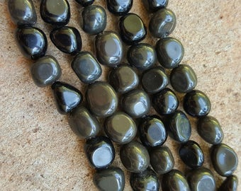 "Natural Black Obsidian Nugget Beads 8~10mm x 8~10mm - 15.5"" Strand"