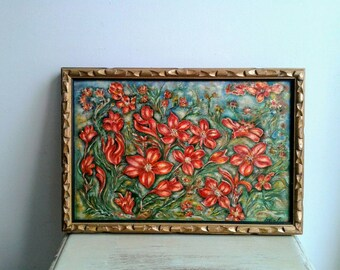 Vintage French, charming signed painting of red flowers, framed original.