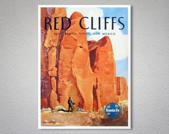 Red Cliffs, New Mexico Vintage Travel Poster - Poster Print, Sticker or Canvas Print