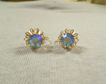 Beautiful Vintage Gold Tone Pair Of Prong Set Blue AB Crystal Rhinestone Screw Back Earrings  DL# 2939