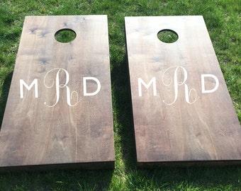 Custom Monogram Wedding Cornhole Boards - Custom Monogrammed Decal Wedding Couple