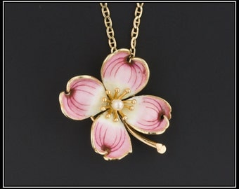 Pink Dogwood Flower Pendant or Necklace | Antique Pin Conversion Necklace | Pink Flower Necklace | 14k Gold Flower Necklace or Pendant