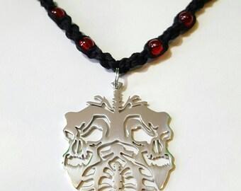 Handmade Red Glow Twiztid Skull Lung Hemp Necklace