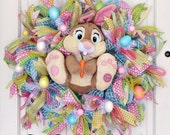Easter Bunny Wreath, Stuffed Bunny Wreath, Easter Wreath