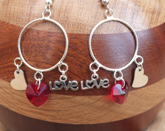 Love earrings, heart earrings, red earrings, Swarovski heart earrings, Valentine earrings
