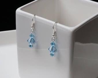 Swarovski  Aquamarine Bicone Crystal Earrings