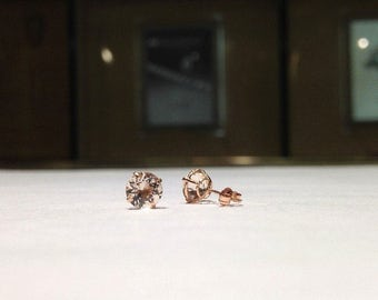 1.00 Carat Genuine Natural Round Shape Morganite Stud Earrings in 14K Rose Gold (HD VIDEO AVAILABLE)