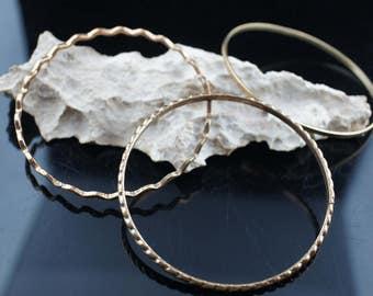 Vintage Art Deco Bangles Ring  Bracelet  Set of 3 Vintage gold Tone Gift for Her /Stamping  Narrow bangle dress aa7