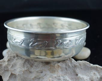 Embossed Duck Baby Feeding Bowl Sterling Silver Reed Barton 1952 Vintage Art  Deco  Footed Bowl  100 grams