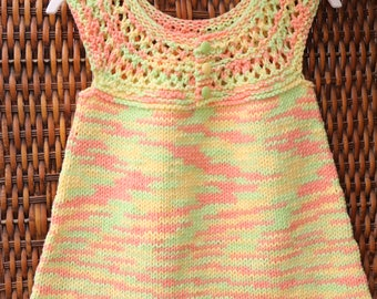 Little girl sun dress, spring and summer cotton sleeveless dress, Easter dress, 2T toddler knitwear, yellow, green, orange dress