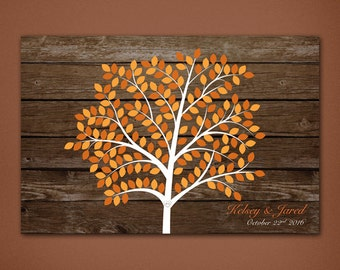DIGITAL Fall Tree Sign In Board • Fall Wedding • Unique Guestbook • Wedding keepsake • Autumn Sign In Board • Autumn • Printed Wood backing