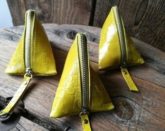 Berlingot mustard Croc leather wallet
