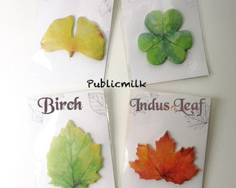 Sticky Notes Memopads - Leaf Spring Leaf Fall, point marker, notepads, page flags, page marker