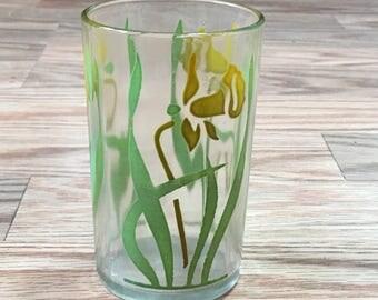 Vintage 1950s Swanky Swig Yellow Daffodil Kraft Juice Glass Tumbler
