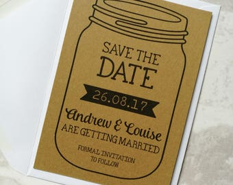 Rustic Kraft Mason Jar Save The Date
