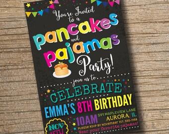 Pancakes and Pajamas Party Invitation, Pancakes Birthday Invitations, Pajama Party, Sleepover Pancakes Invitation Chalkboard (Printable)