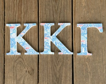 Kappa Kappa Gamma Lilly Pulitzer Inspired Wooden Letters, KKG Letters, Sorority Letters, Big/Little Week Gift, Initiation Gift