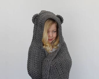 Crochet Pattern - Jensen Herringbone Hooded Blanket by Lakeside Loops (includes 3 sizes: baby, kids, and adult)