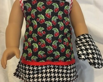 "18"" Doll Apron Cherries and Houndstooth"