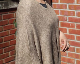 20 % OFF Natural Brown Cashmere Poncho/Limited Offer