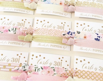 Champagne 30th Birthday Hair Tie Favors | Blush Pink + Gold Sparkle Hair Tie Favors, Rose Gold Birthday Party Favor, 21st 30th 40th Birthday