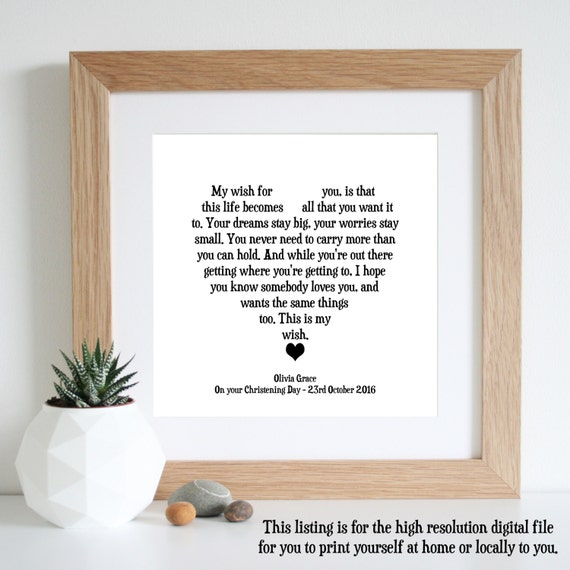 Like this item?  sc 1 st  Etsy & My Wish For You Personalised Gift Word Art Printable Art
