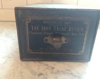 Vintage Iron Trade Review Metal File Drawer Advertising Industrial Storage Green