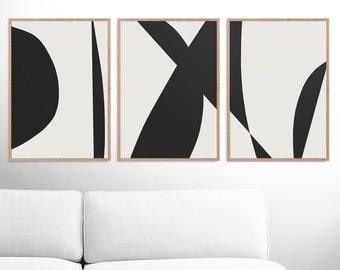 Abstract Art Print Set, 3 Black & White Abstract Art, Printable Abstract, instant download, Dan Hobday Minimal art A2 Prints, Gallery prints