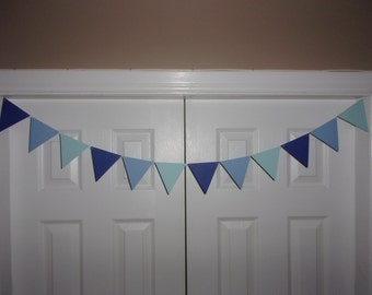 "4inch Pennant Flag Garland Blue Ombre Shades Cardstock Paper Bunting Photo Prop Backdrop Baby Shower Banner Birthday 4"" triangles"