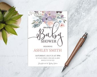 Pink and Purple Floral Baby Shower Invitation, Garden Baby Shower, Girl Baby Shower Luncheon, PRINTABLE