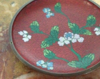 Vintage red cloisonne small dish/ plate with floral design