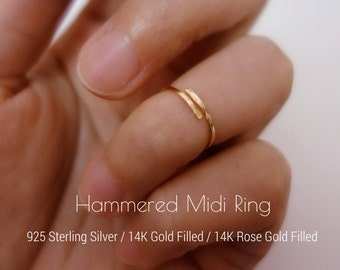 Hammered Sterling silver Gold filled Rose Gold Filled Knuckle Ring Band ring Adjustable Midi Ring Stacking Ring Dainty ring Wire Minimalist