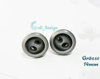 Ear plug button grey dark