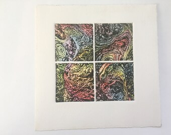 Original Miniature 4 Panel Color Etching F. Lubben