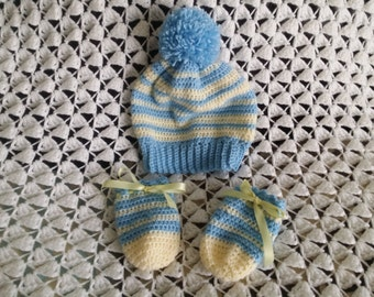 Crochet Baby Hat and Gloves.