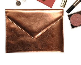 Undercover Metallic Leather Clutch Bag Silk Lined