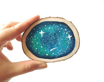 Galaxy Wood Slice Painting // Wood Slice Painting // Space Painting // Space Home Decor // Wood Wall Hanging