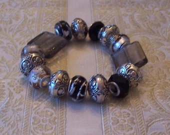 Black, Grey and Silver, Glass & Metal Beaded Bracelet - Free Shipping