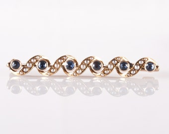 Vintage 1890's 14k Yellow Gold Natural Seed Pearl & Sapphire Bar Pin .30ctw
