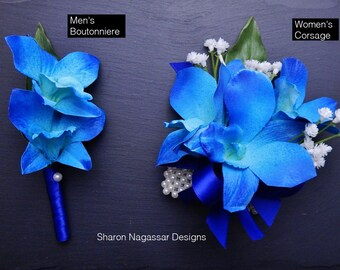Corsage OR Boutonniere, royal/cobalt, blue, white, orchids, dendrobium, Real Touch flowers, silk/artificial, prom/wedding, bom/galaxy
