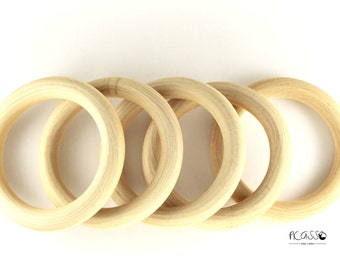 """Toy teether MAPPLE RING, natural wood, 3 5/8""""- 95 mm, untreated, baby gift, sensory toys,shower gift, baby teething toy, baby teether, DIY"""