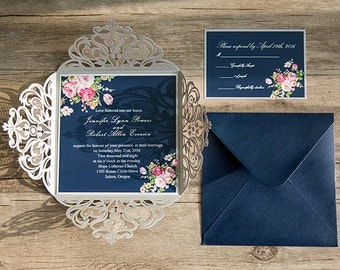 30 Navy Blue Floral Laser Cut Wedding Invitations Set: Invitation, RSVP, Accommodation, Thank You Card