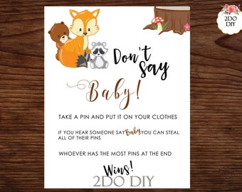Woodland Baby Shower/Dont Say Baby Sign / Forest Baby Shower/Activity Woodland Animals Shower  /Dont Say Baby Game / WL-30/Instant Download