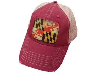 Maryland Flag Distressed Snap Back Trucker Mesh Cap Hat Maroon