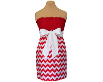 Red + White Chevron Game Day Dress